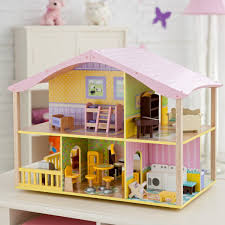 Leomark White Wooden Dolls House With Furniture And Dolls Wooden