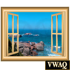 Wall Mural Decals Beach by Ocean Scene 3d Window Frame Family Wall Art Vinyl Decal Rocky