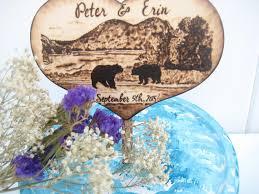 Lake Wedding Cake Topper Bears Country Tree Mountains Wood Heart Bear Hunting Rustic Custom Pyrography