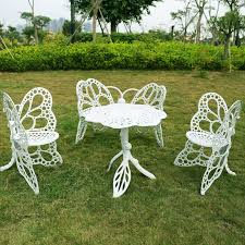 Cast Aluminum Patio Furniture With Sunbrella Cushions by 4 Piece Butterfly Cast Aluminum Dining Chair And Table Patio