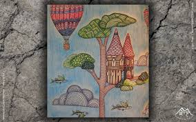 Coloring Book A Treetop City Page 1