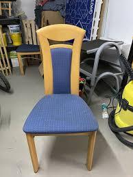 esszimmer stühle buche mit blauen polster bezü