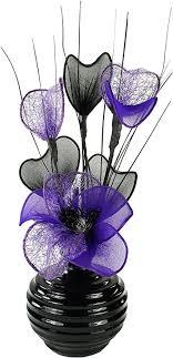 lila pflaume violett künstliche blumen mit schwarz vase deko wohnaccessoires deko geeignet für bad schlafzimmer oder küche fenster regal 32cm