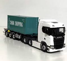 WSI TRUCK MODELS,NEW Scania S Normal,container Trailer+20Ft Cont ...