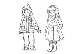 Winter Coloring Pages Clothes For Boy And Girl