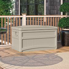 Suncast Outdoor Storage Cabinets With Doors by Amazon Com Suncast Db7500 Capacity Taupe Deck Storage Box 73
