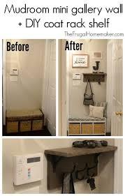 Mudroom mini gallery wall DIY coat rack shelf