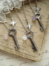 Other Pinner Said BRIDESMAID GIFTS Set Of 3 Antique Skeleton Key Necklaces Vintage Necklace With Flower And Bird Garden Wedding But I Would Just