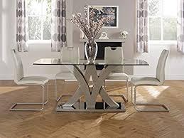 esszimmer set barcelona glastisch mit taupe basis