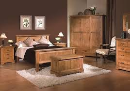 Vintage Oak Wood Bedroom Furniture With White Fur Rug