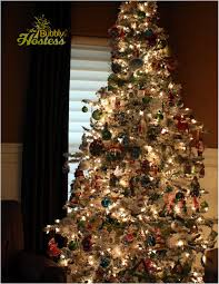Flocked Christmas Trees Decorated by The Bubbly Hostess Flocked Christmas Tree Decorated With Old