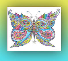 Butterfly Original Zentangle Art Drawing Rainbow By DHANAdesign
