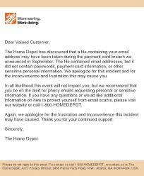 Home Depot Notice to Our Customers from The Home Depot