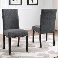 Roundhill Furniture Biony Fabric Nail Head Dining Chair Set Of 2, Gray Details About Set Of 2 Classic Parson Ding Chairs Living Room Nailhead Trim Tall Backrest Tan Parsons Merax Stylish Tufted Upholstered Fabric With Detail And Solid Wood Legs Beige Kaitlin Transitional Style Nailhead Trim 7 Piece Ding Set Chair Ginnys Armless Abbyson Sienna Leather Hooker Fniture Sorella Side Turned Lionel Modern Grey Wing Back Ambrosia Rustic Bar Wilson Home Ideas How To Make Black