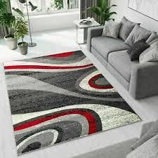 details zu teppich wohnzimmer wellen verwischt modern ökotex esszimmer grau rot creme