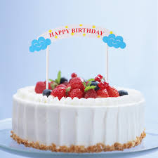 5Pcs Happy Birthday Cake Toppers Flag Banner Colorful Paper