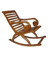 Teakwood Rocking Chair In Natural Finish Round Handle