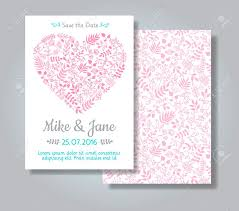 Rustic Wedding Invitation Card Set Hand Drawn Florals In Heart Shape On White Background