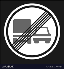 End Of Prohibition Overtaking For Trucks Sign Icon
