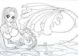 Anime Mermaid Coloring Pages 30 Coloringstar Free Download
