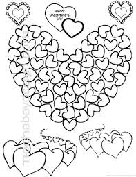 Print Kids Valentines Coloring Page Of A Big Heart Made Small Hearts