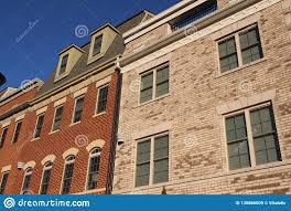 100 Townhouse Facades Modern In The Sunny Day Stock Image