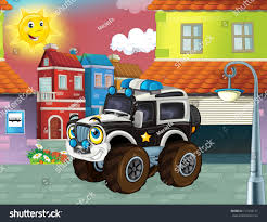 Happy And Funny Cartoon Policeman Truck Smiling And Driving Through ...