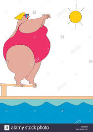 Overweight Woman Standing On Edge Of Diving Board Illustration