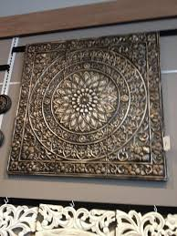 TUSCAN Embossed Medallion METAL WALL DECOR Art Brown Black Square 36