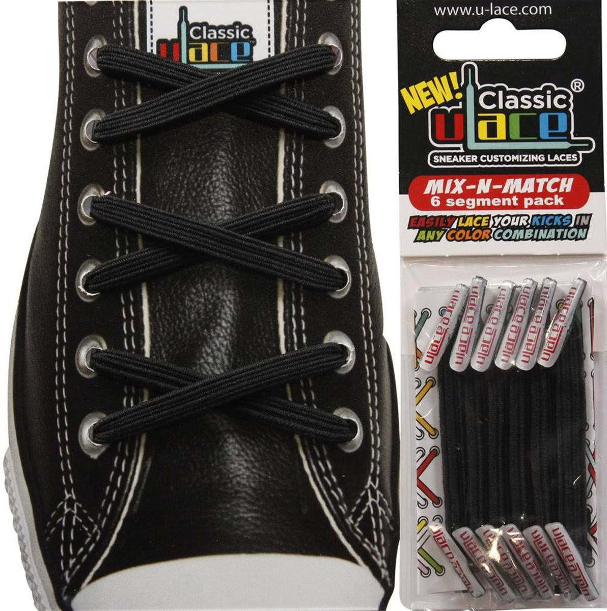 U-Lace 2969101 Unisex-Adult Mix N Match Shoe Laces - Black, One Size
