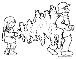 Free Christmas Tree Coloring Pages A Son And Father Carrying
