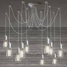 10 Light Cable Chandelier In White 40W Bulb Ceiling
