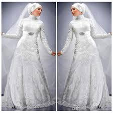 Long Sleeves High Neck Lace Wedding Dresses With Hijab A Line Custom Muslim Modest Dubai Abaya Kaftan Islamic Bridal Gown Sleeve