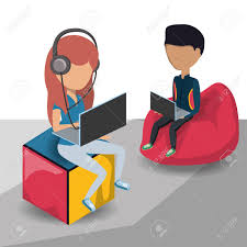 Young Man And Woman Sitting On A Bean Bag Chair Using Technological Devices Over Background