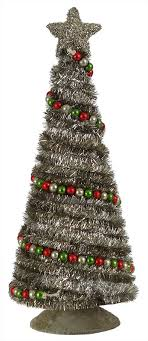 Silver Tinsel Tree With Bead Garland