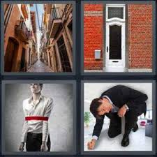 4 Pics 1 Word Answer for Cobblestone Door Tied Crouch