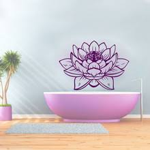 ZOOYOO Beautiful Lotus Wall Sticker Purple Design PVC Hollow Out Home Decor Art Mural For Bathroom