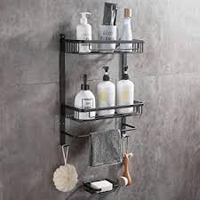 dufu 2 stufe regal für bad dusche ablage wandregal selbstklebende aluminium mit 2 haken duschablagen ohne bohren badezimmer duschkorbe badregal mit