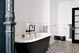 Black White Bathroom And Cement Flooring Pattern Tile Also