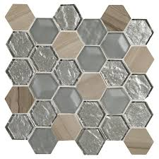 American Olean Mosaic Tile Canada by American Olean Loren Place 11 In X 11 In Metallic Blend Glass And
