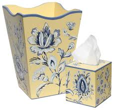 Allen G Designs Blue Flowers Wastebasket and Tissue Box Set