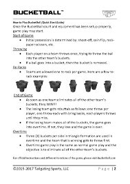 BucketBall Quick Start How To Play Instructions Page 1 2