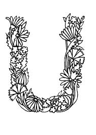 Alphabet Flowers Letter U Coloring Pages