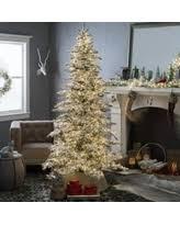 75 Flocked Slim Christmas Tree by Flocked Led Pine Christmas Trees Bhg Com Shop