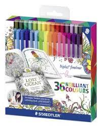 Staedtler Johanna Basford Triplus Fineliner Pens For Adult Coloring Books Set Of 36
