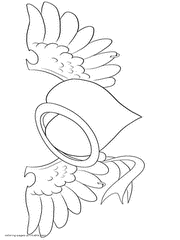 Heart With Wings And Ring Coloring Page To Print