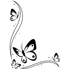 Butterfly Border Black And White Clipart