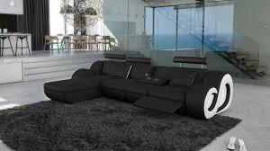 canape d angle noir et blanc canapé d angle en cuir avec éclairage nesta mobilier moss