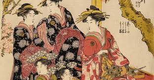 Kitagawa Utamaro Japanese Artist Painting 16th Century Courtesans Feudal Japan