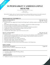 Example Of Cashier Resume Supermarket Sample Examples A